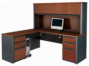 Bestar Prestige L Shape Desk With Hutch In Bordeaux Graphite 99877 1639