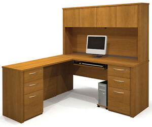 Bestar Embassy Executive L Shape Office Desk In Cappuccino Cherry