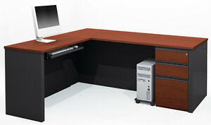 Bestar Prestige L Desk In Bordeaux Graphite With Keyboard Shelf 99879 1439