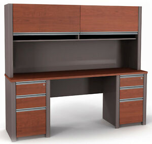 Bestar Connexion Credenza Office Desk W Hutch And Pedestals In Bordeaux