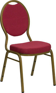 Lot 100 Burgundy Patterned Fabric Teardrop Back Gold Frame Banquet Stack Chairs