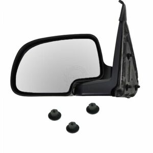 Manual Side Mirror Black Chrome W Hardware Driver Left Lh For Chevy Gmc Truck