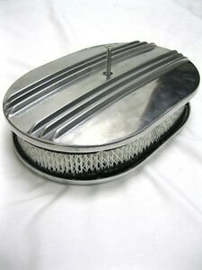 12 Nostalgia Custom Half Finned Polished Aluminum Air Cleaner Street Rat Rod