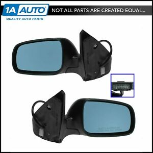 Power Heated Side View Mirrors W Blue Tint Pair Set For Jetta Gti Golf