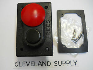Rees 1968 032 Heavy Duty Start Stop Mushroom Push Button Assembly 1 3 8 Nib
