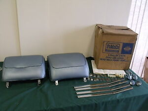 Nos 1968 Ford Galaxie Mustang Head Rest Kit Blue Fomoco Torino 68
