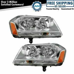 Headlights Headlamps Left Right Pair Set New For 08 10 Dodge Avenger Sxt Se
