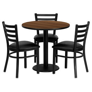 Restaurant Table Chairs 30 Round Walnut Laminate With 3 Ladder Back Metal