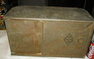 Primitive Antique Tin Flour Hoosier Cabinet Cupboard Food Bin Storage Holder