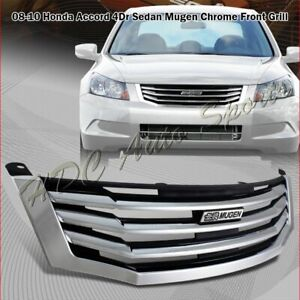 For 2008 2010 Honda Accord 4 Door Chrome Horizontal Front Grille Grill Body Kit