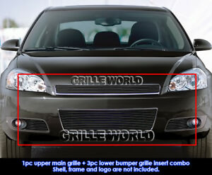 Fits 2006 2013 Chevy Impala Black Billet Grille Insert Combo