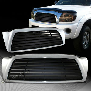 For 2005 2011 Toyota Tacoma Black Chrome Horizontal Front Hood Grille Grill
