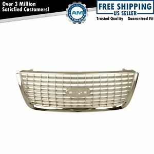 Satin W Chrome Trim Front End Grill Grille For 03 06 Ford Expedition