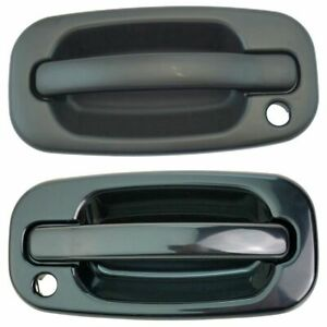 Outside Exterior Door Handles Gloss Black Front Lh Rh Pair Set For Chevy Gmc