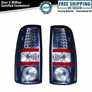 Black Bezel Performance Led Taillight Pair Set For Silverado Sierra Fleetside
