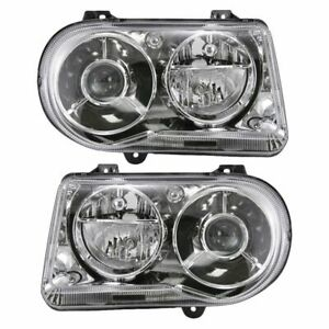 Headlights Headlamps Left Right Pair Set New For 05 10 Chrysler 300c