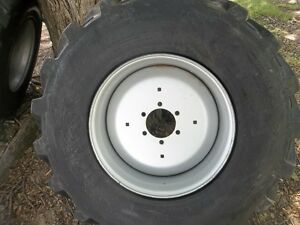 Two 15x19 5 6 Ply R4 Galaxy Backhoe Tractor Tires With 6 Hole Rims
