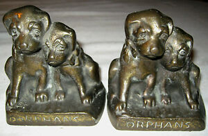 Antique 9 1 2 Pounds Solid Cast Iron Hubley 272 Orphan Puppy Dog Art Bookends