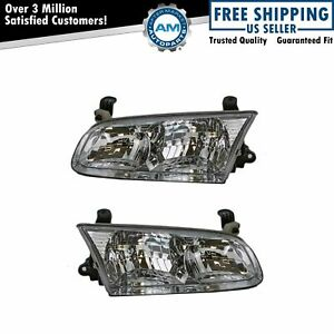 Headlights Headlamps Left Right Pair Set For 00 01 Toyota Camry
