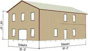 Steel Metal 2 floor Home Shell Kit 2400 Sq Ft Barn Shed Prefab Storage