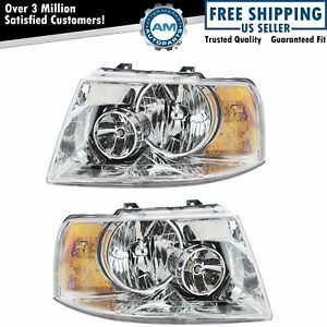 Headlights Headlamps W Chrome Bezel Pair Set For 03 06 Ford Expedition