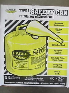 Eagle Metal Type I Safety Diesel Can 5 Gallon ui 50 fsy New