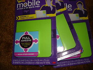 Post it Mobile Attach And Go Note Pad Pm fan1 Lot Of 3