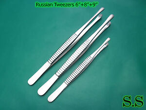 3 Pieces Russian Tissue Forceps 6 8 10 Surgical Dental Instruments