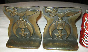 Antique Shriners 3 D Cast Iron Bronze Fraternal Sword Moon Art Statue Bookends