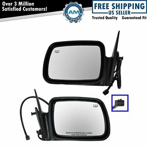Heated Power Side Mirrors Textured Black Pair Set For 96 98 Jeep Grand Cherokee