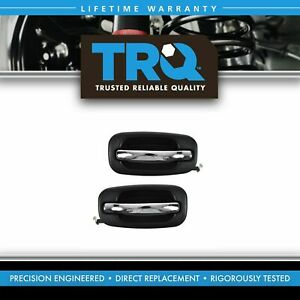 Rear Exterior Outside Chrome Black Door Handle Pair Set For Chevy Pickup Truck
