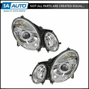 Headlights Headlamps Left Right Pair Set New For Mercedes Benz E Class