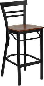 Deluxe Black Ladder Back Metal Restaurant Bar Stool With Cherry Wood Seat