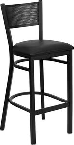 Black Grid Back Metal Restaurant Bar Stool With Black Vinyl Seat