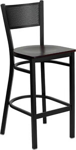 Black Grid Back Metal Restaurant Bar Stool With Mahogany Wood Seat