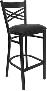 Black X Back Metal Restaurant Bar Stool With Black Vinyl Seat