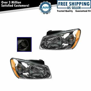 Headlights Headlamps W Dark Background Left Right Pair Set For 05 06 Spectra