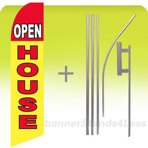 Open House Swooper Flag Kit Feather Flutter Banner Sign 15 Tall Yb