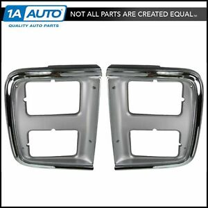 Chrome Headlight Trim Bezel For Dual Headlights Pair Set For 85 91 Gmc Chevy Van