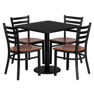 Restaurant Table Chairs 36 Black Laminate With 4 Ladder Back Metal Chairs