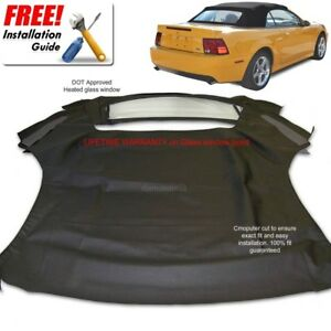 Ford Mustang Convertible Soft Top Heated Glass Window Black Sailcloth 1994 04