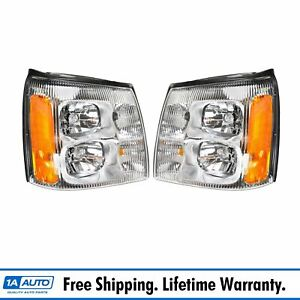 Headlights Headlamps Lh Rh Pair Set For 02 Cadillac Escalade Pickup Truck Ext