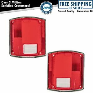 Tail Light Tail Lamp Lens W Chrome Bezel Trim Pair Set For 73 91 Gm Pickup Truck