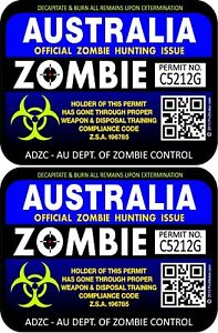 Two Australia Zombie Hunting License Permit 3 X4 Decals Stickers Bl Pu