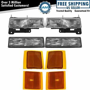 Headlights Parking Corner Lights Left Right Pair Set Of 8 For Chevy C K Blazer