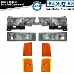 Headlights Corner Parking Lights Left Right Set Kit For 90 93 Chevy Truck
