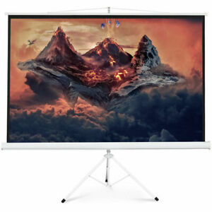 New Portable 100 Projector 16 9 Projection Screen Tripod Pull up Matte White