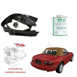 Mazda Miata 1990 2005 Convertible Soft Top Dyi Kit With Rain Rail In Tan Cabrio
