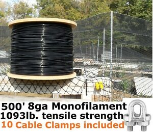 Monofilament Cable Wire Rope 500 8ga Black Support Cable 10pk Cable Clamps