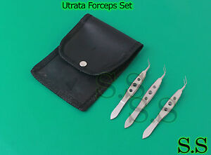 3 Pc Set Of Utrata Capsulaorrhexis Forceps With Pouch Good Quality